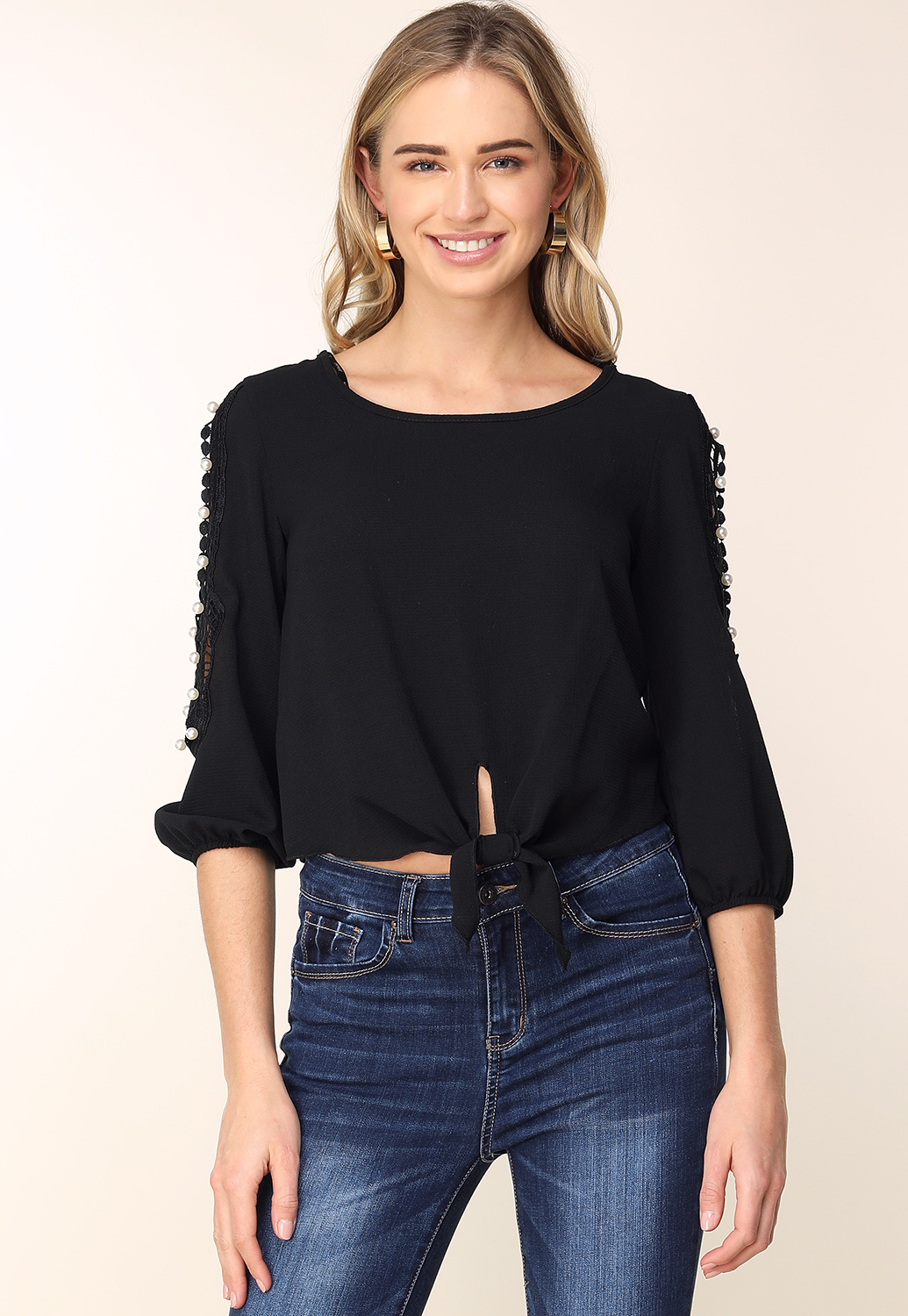 Pearl Accented Open Shoulder Top