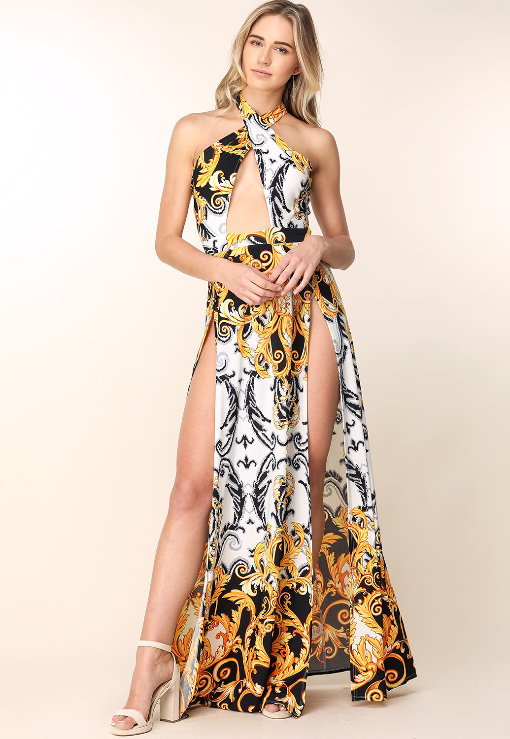 Ornate Print M-Slit Maxi Dress