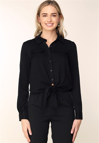 Tie Front Long Sleeve Casual Top