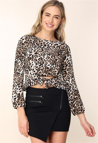 Tie Front Cheetah Print Top