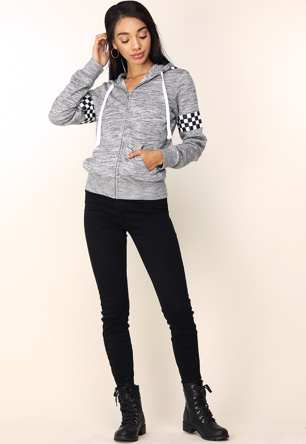 Checkered Print Zipper-Up Hoodie