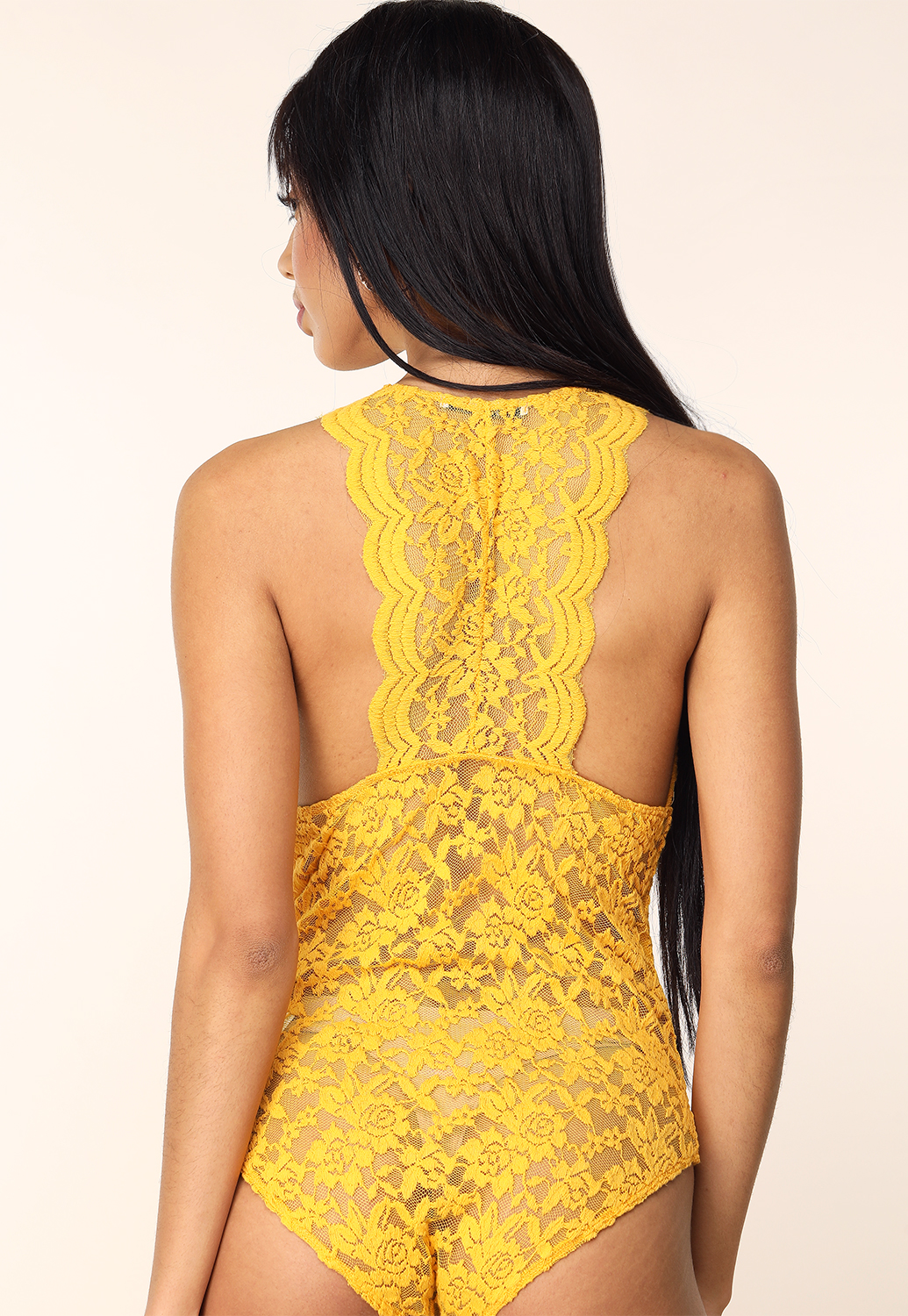 Sheer Lace Racerback Bodysuit