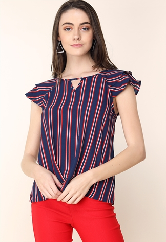 Pinstriped Ruffle Sleeve Detail Top