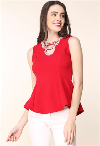 Faux Pearl Embellished Peplum Top
