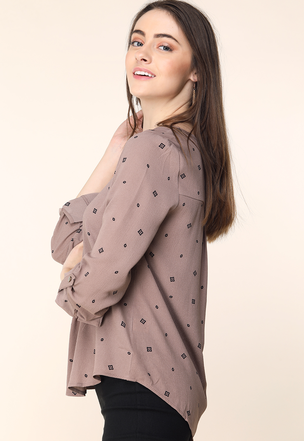 V-Neck Long Sleeve Dressy Blouse