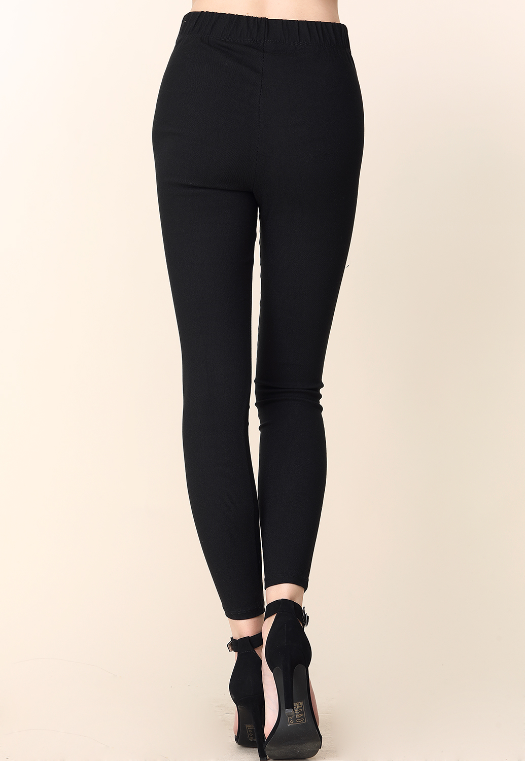 High Rise Button Detal Stretch Pants
