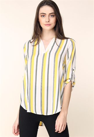 V-Neck Pinstriped Blouse