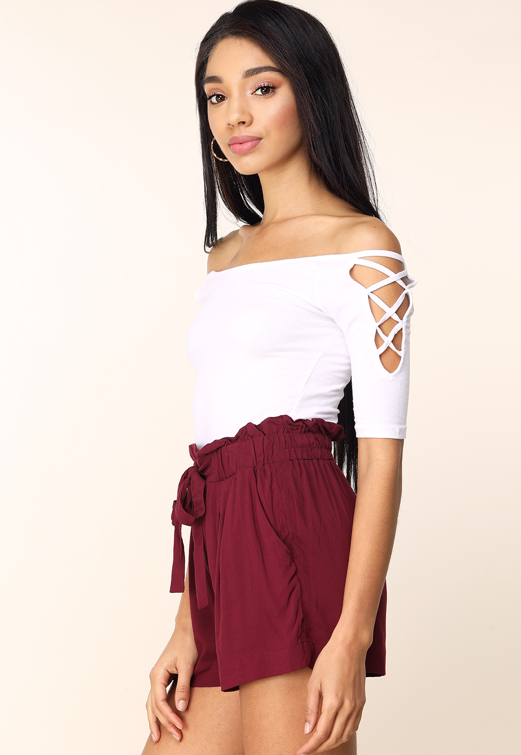 Lace-Up Off The Shoulder Tee