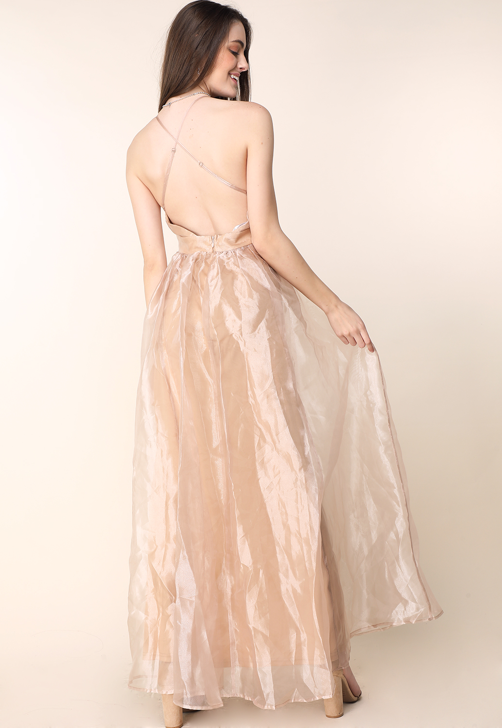 Sheer Mesh Drape Maxi Dress