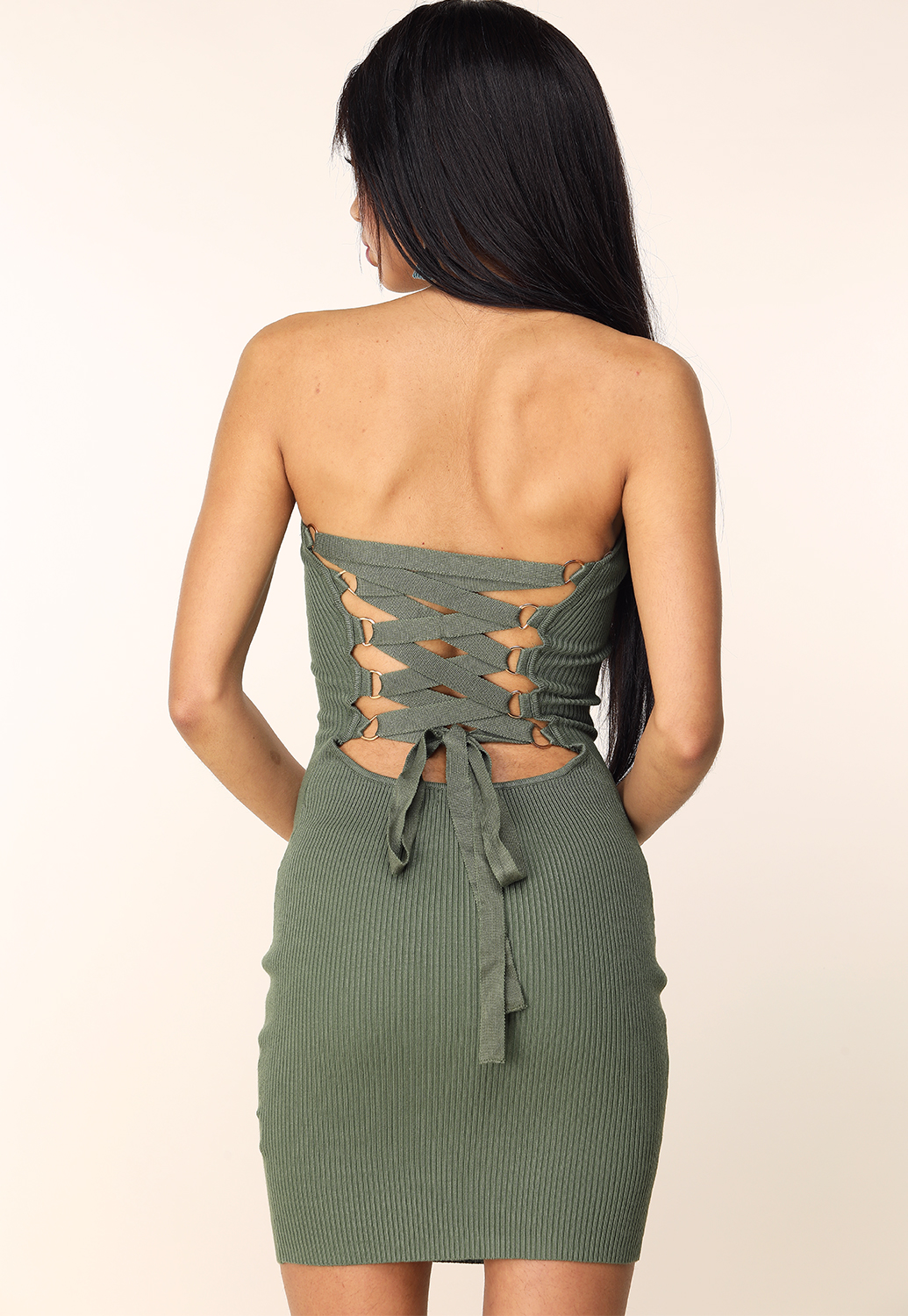 Back Lace Up Bodycon Dress