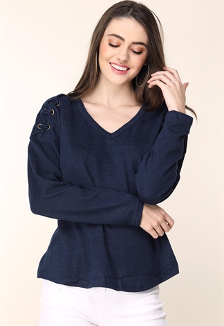 Shoulder Lace Detail V-Neck Top