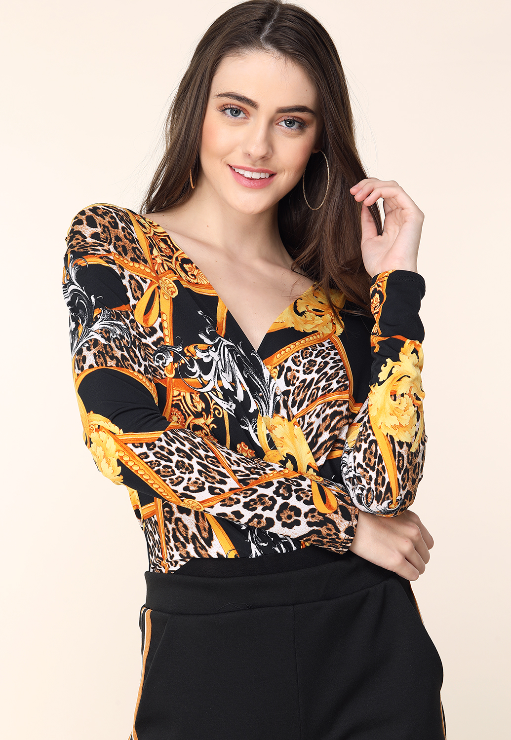 Ornate Print Long Sleeve Bodysuit  43d7a46b2