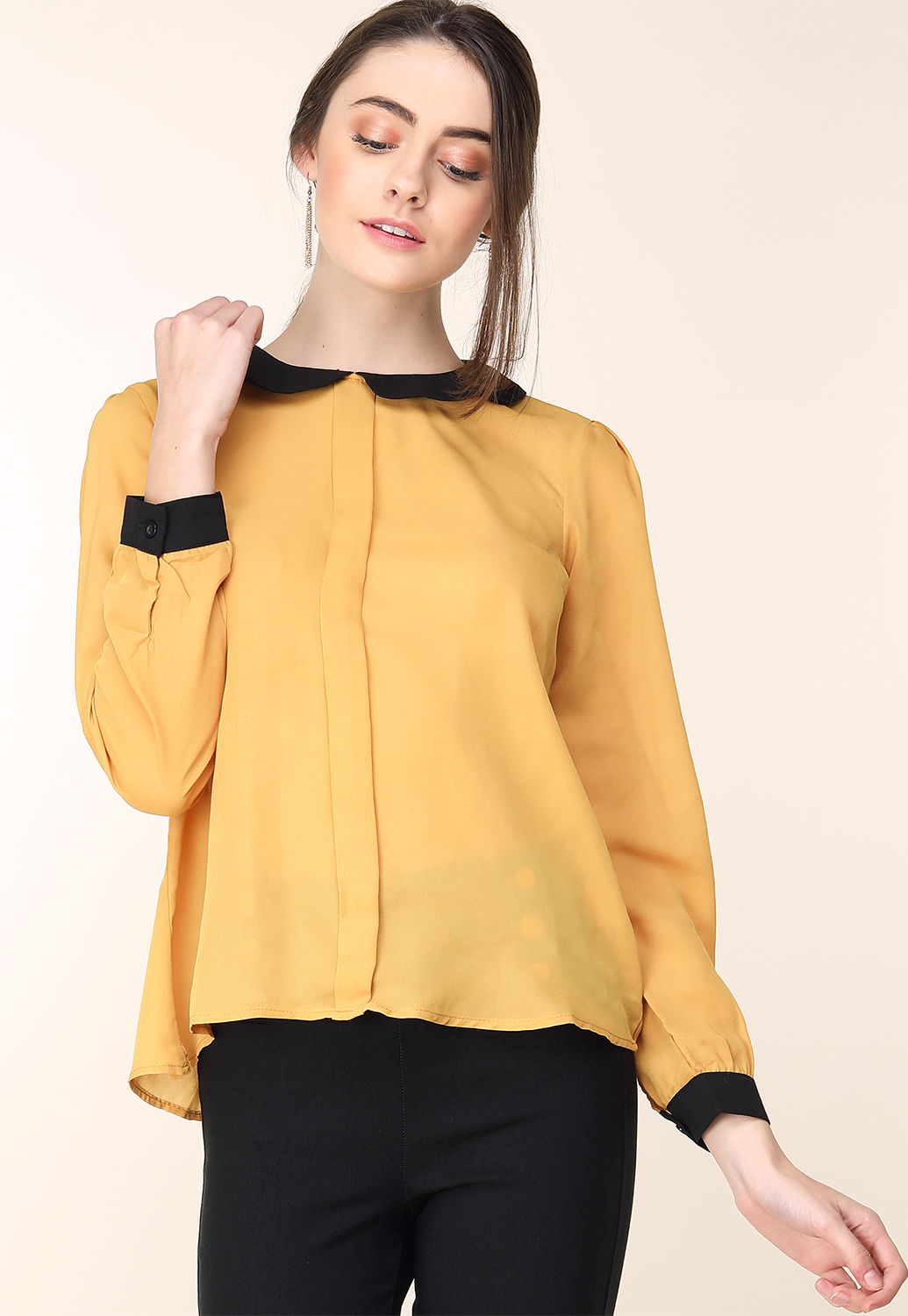 Contrast Long Sleeve Dressy Blouse