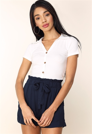 Ribbed Button Up Top