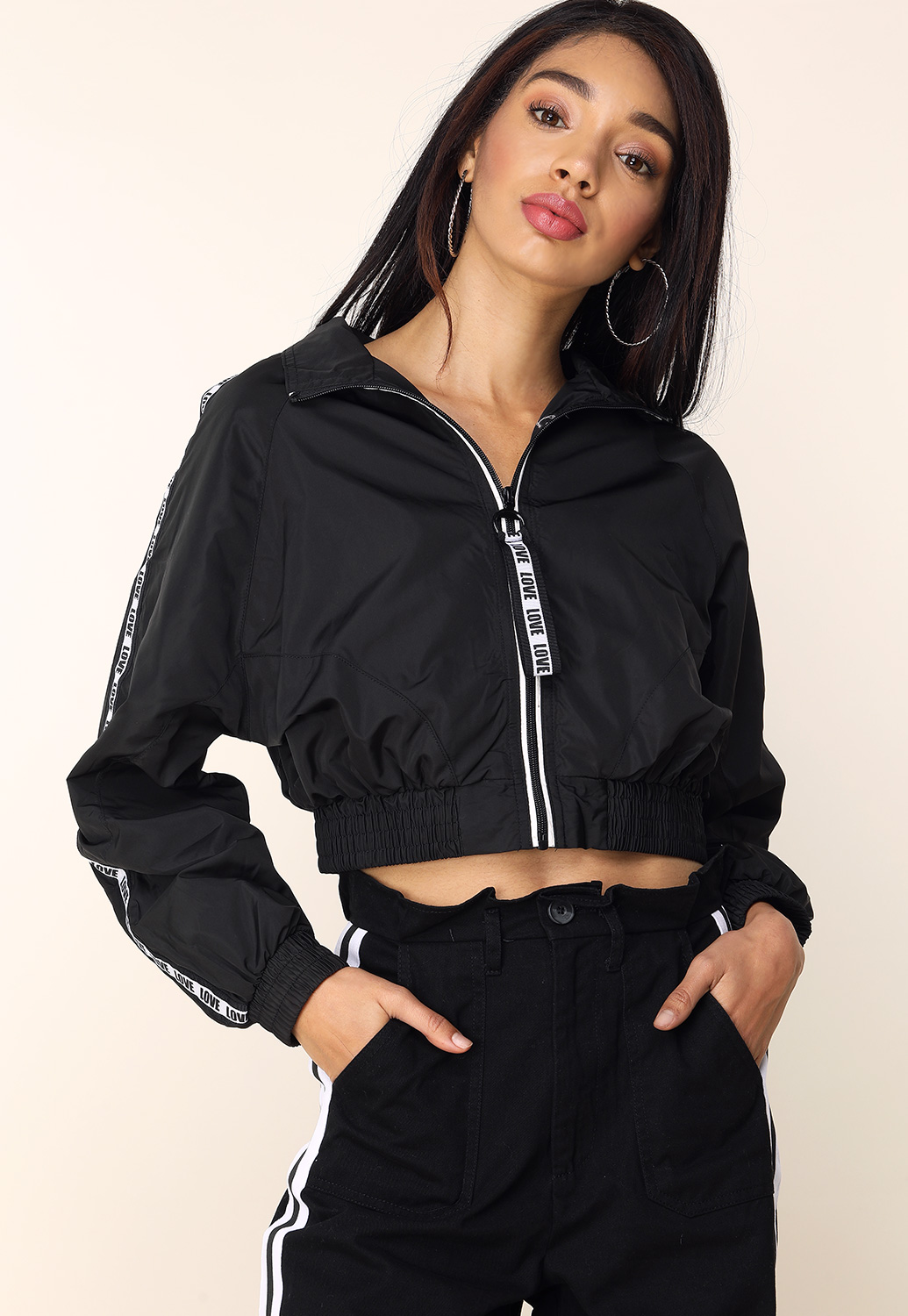 Zip-Up Love Print Activewear Jacket