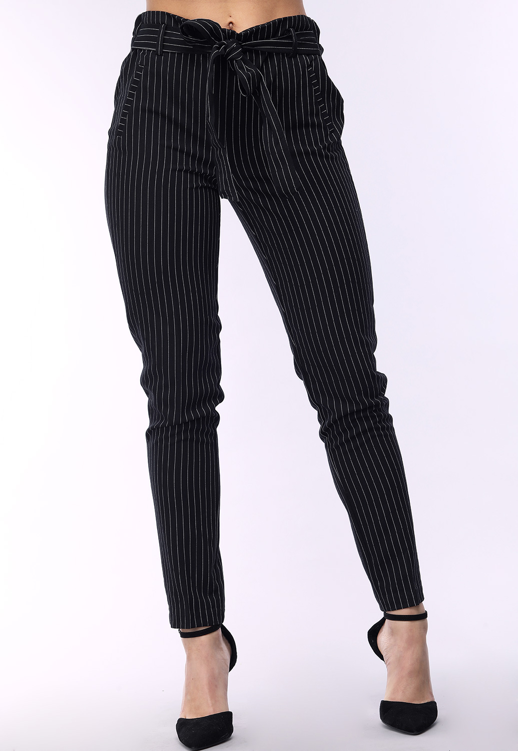 Tie Front Pinstriped Dressy Pants