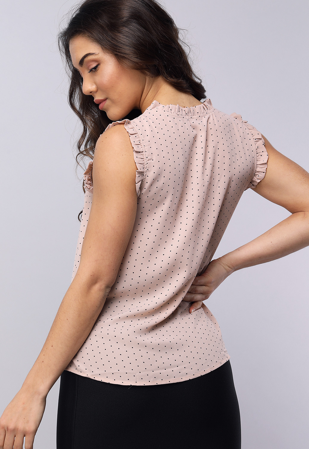 Polka Dot Ruffle Detail Blouse