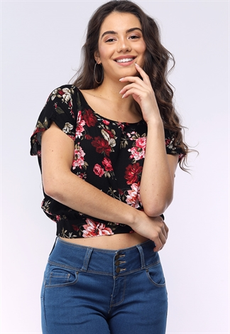 Self Tie Back Floral Top