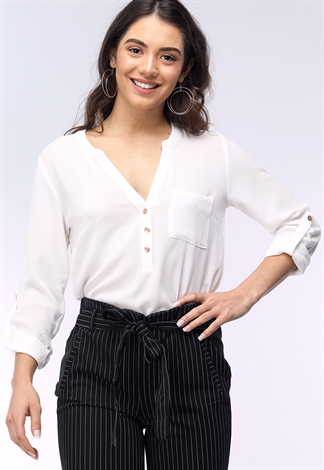 Pocket V-Neck Cuffed Blouse