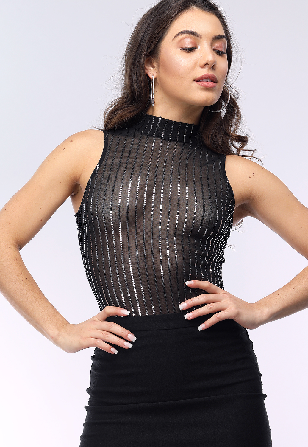 39d64f90876f Sheer Mesh Sequin Embellished Bodysuit