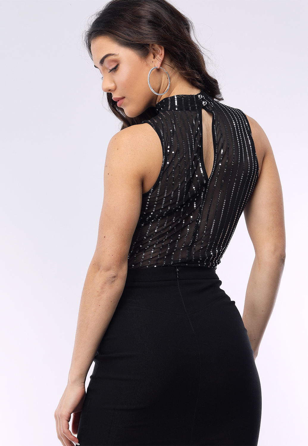 Sheer Mesh Sequin Embellished Bodysuit