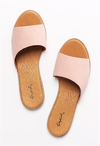 Faux Leather Slide Sandals