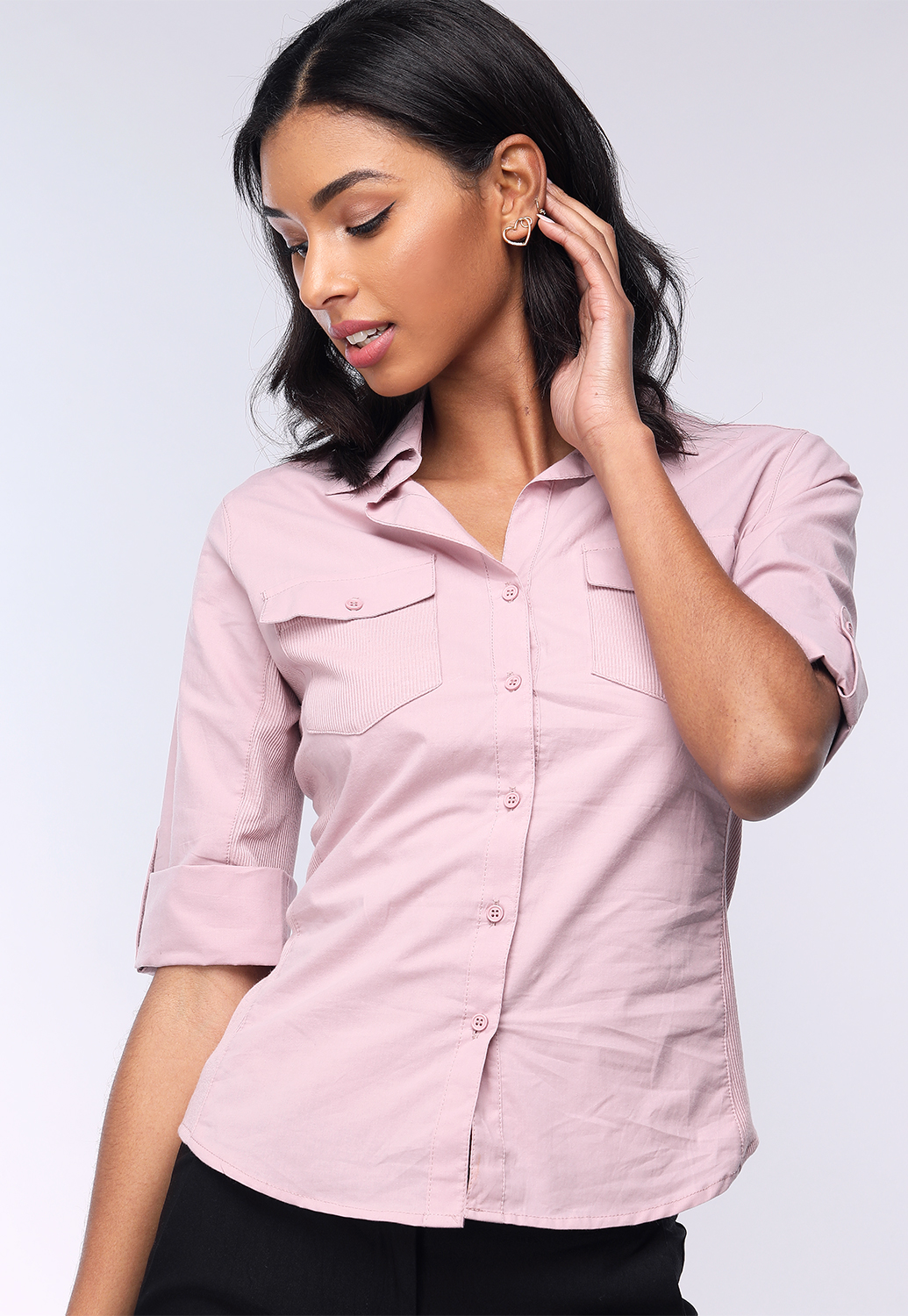 Button Up 3/4 Sleeve Blouse