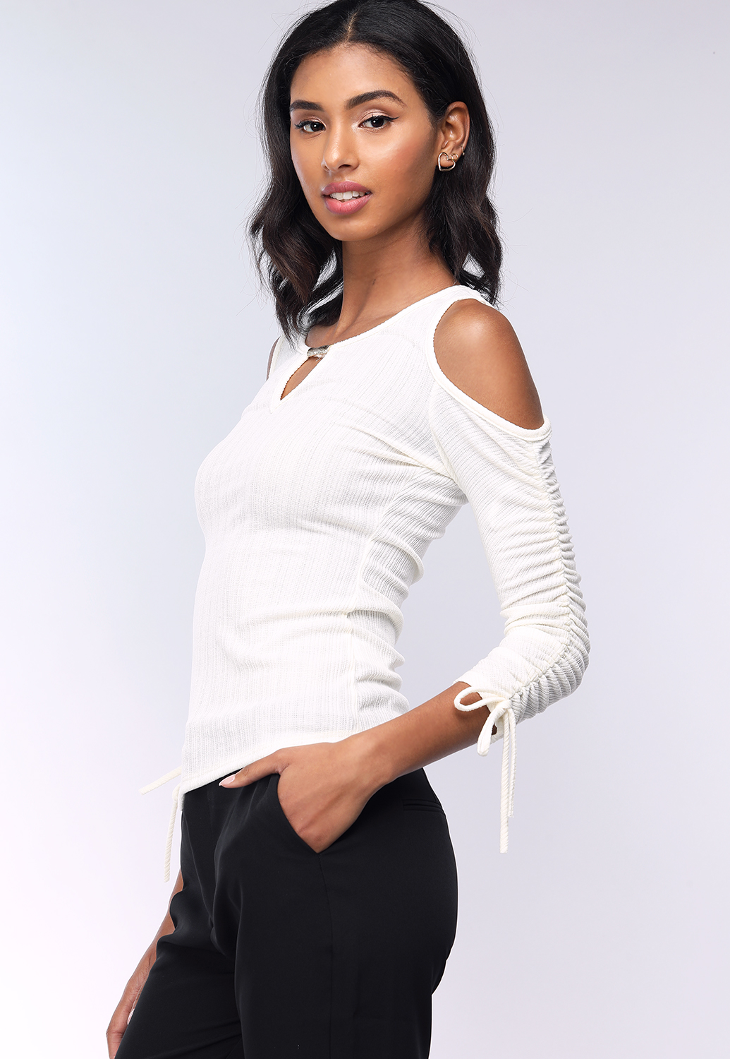 Ruched-Sleeve Dressy Top