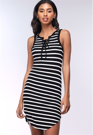 Striped Front Lace Up Dress