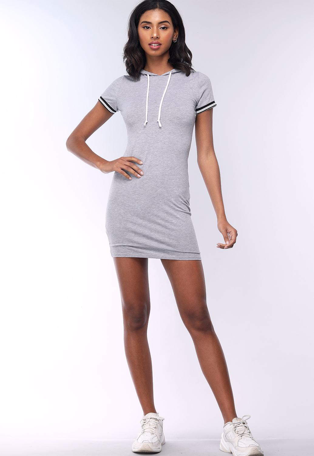 Striped Sleeve Hooded Mini Dress
