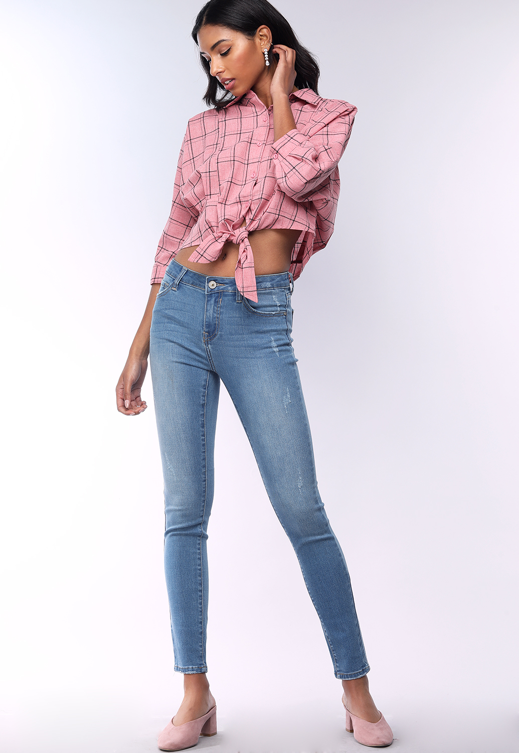 Plaid Tie Front Crop Shirt