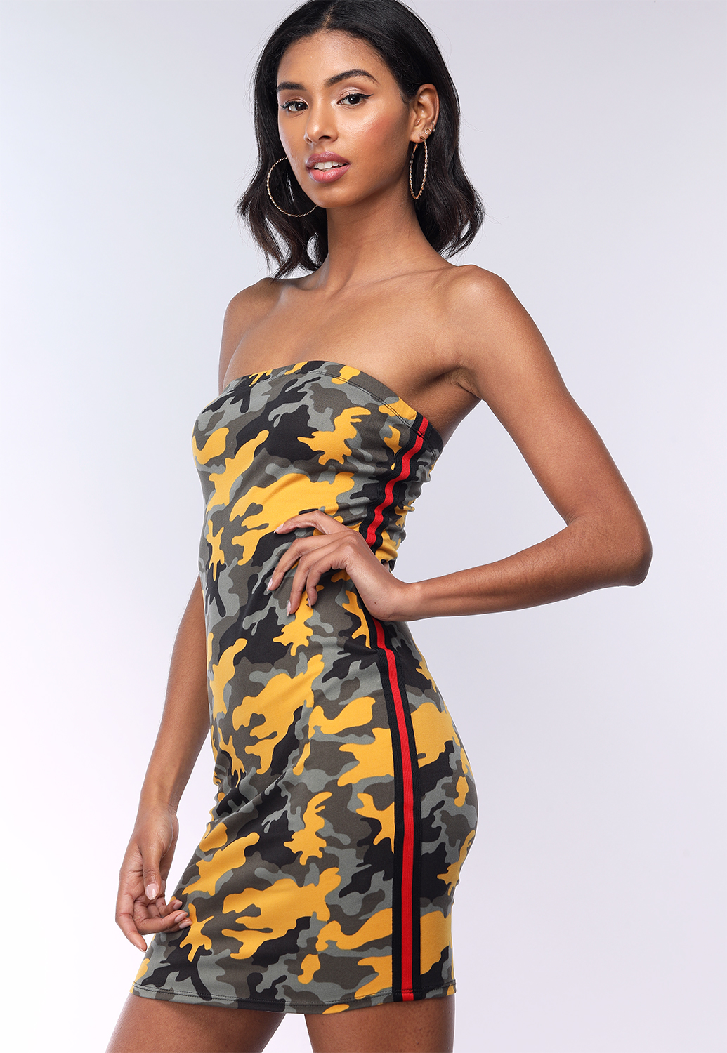 Camo Print Tube Mini Dress