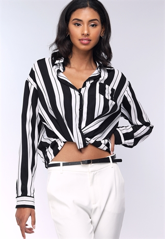 Pinstriped Surplice Dressy Top