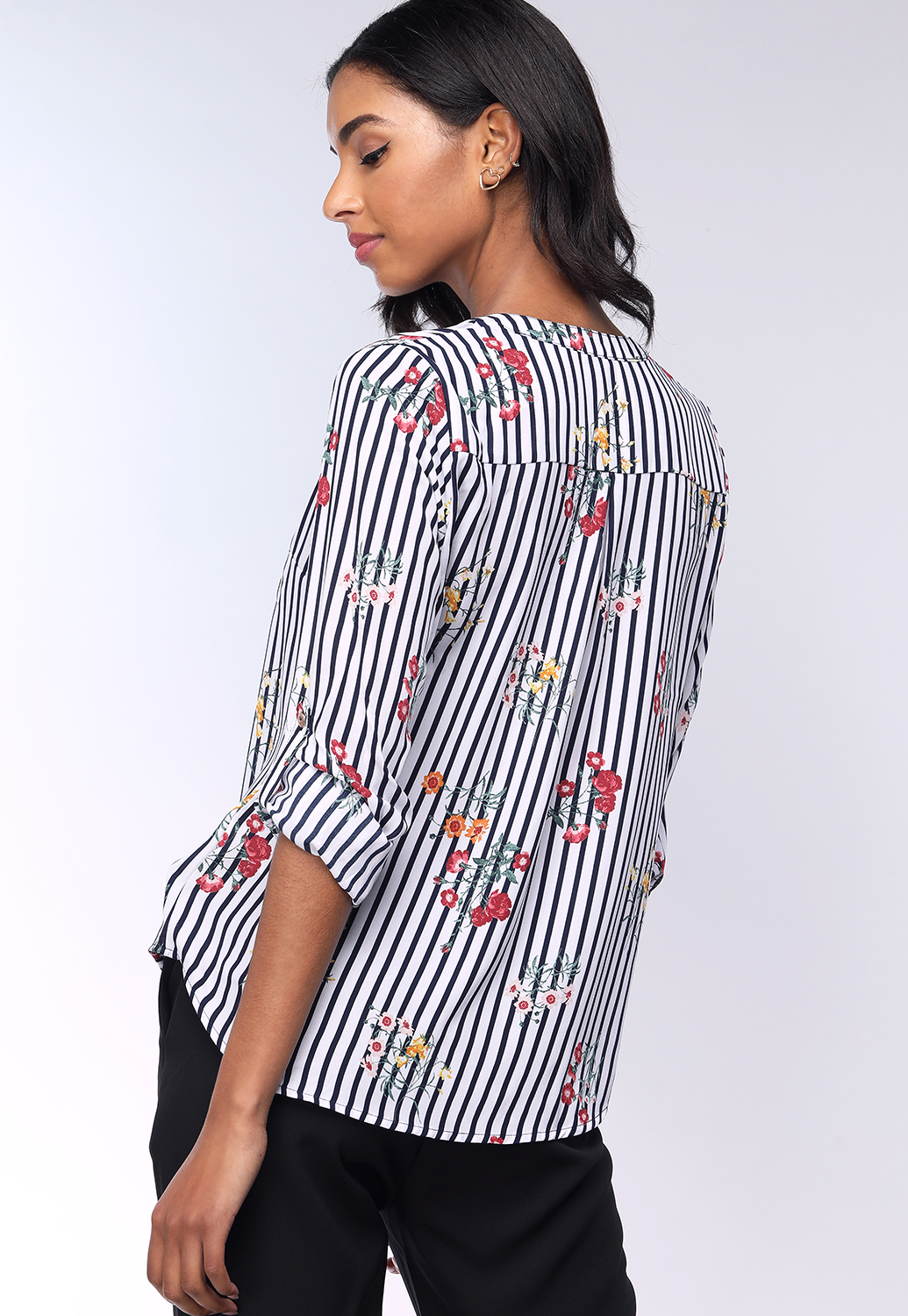 Floral Pinstriped Dressy Top