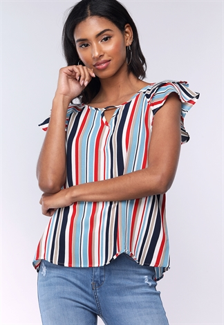 Pinstriped Ruffle Sleeve Dressy Top