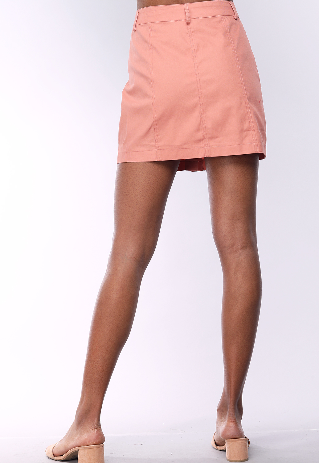 Front Button Detail Skirt