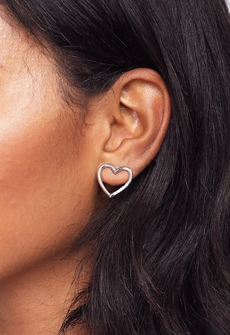 Heart Rhinestone Stud Earrings