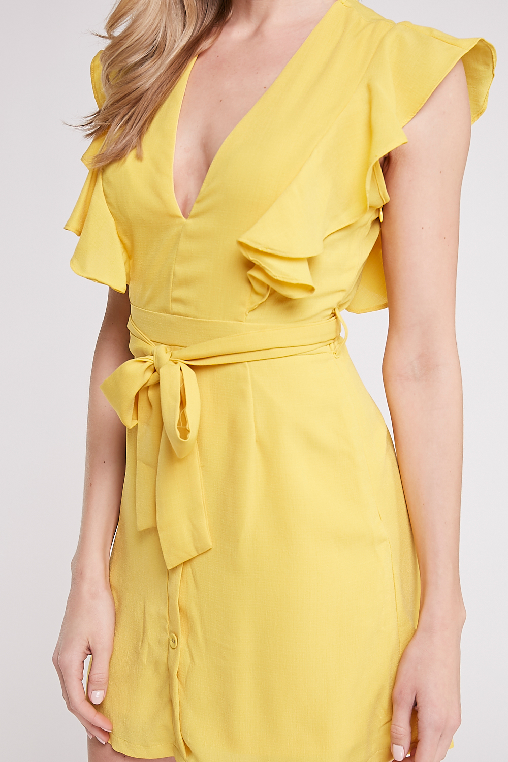 Ruffle Tie-Front Mini Dress