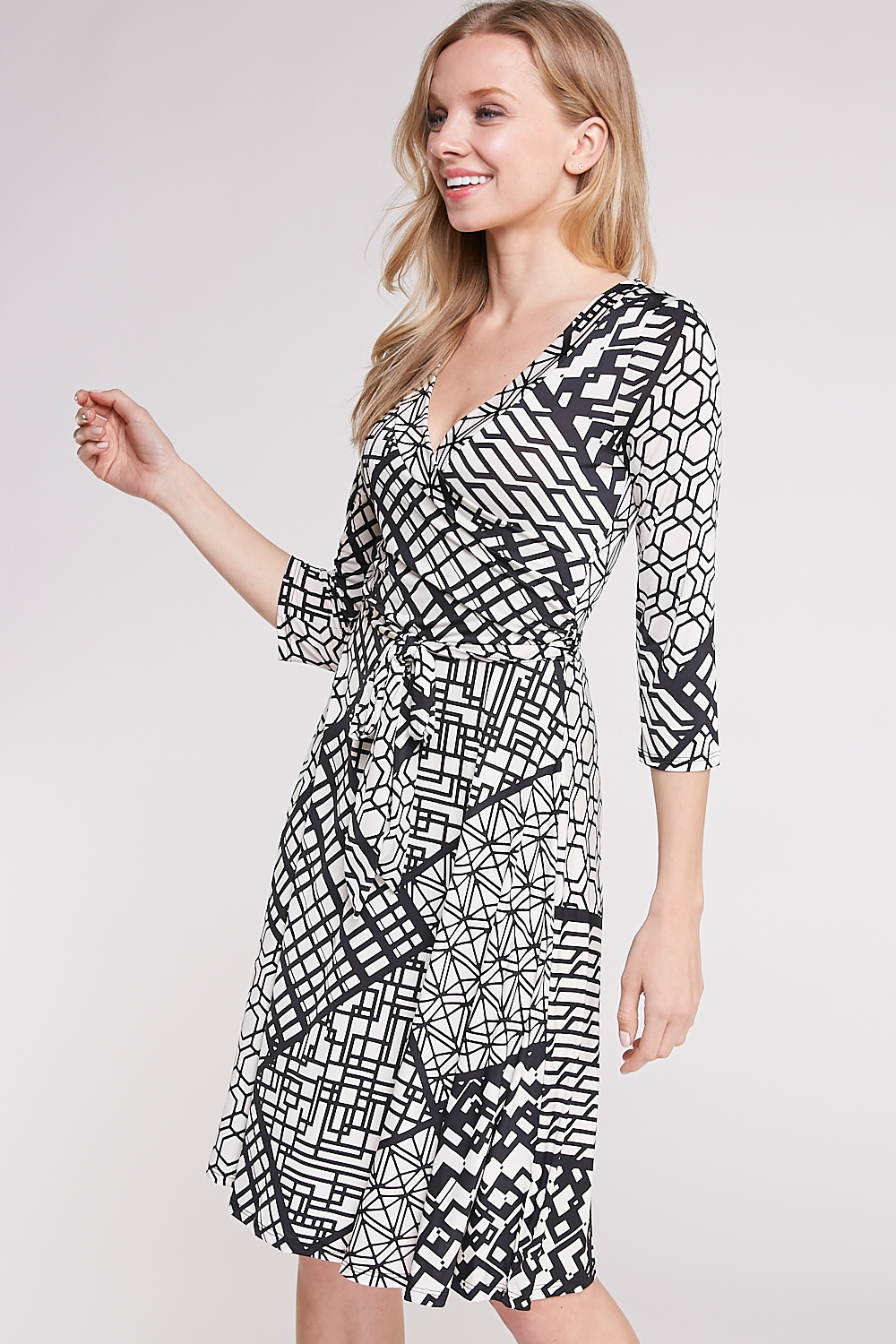 Abstract Print Front-Surplice Mini Dress
