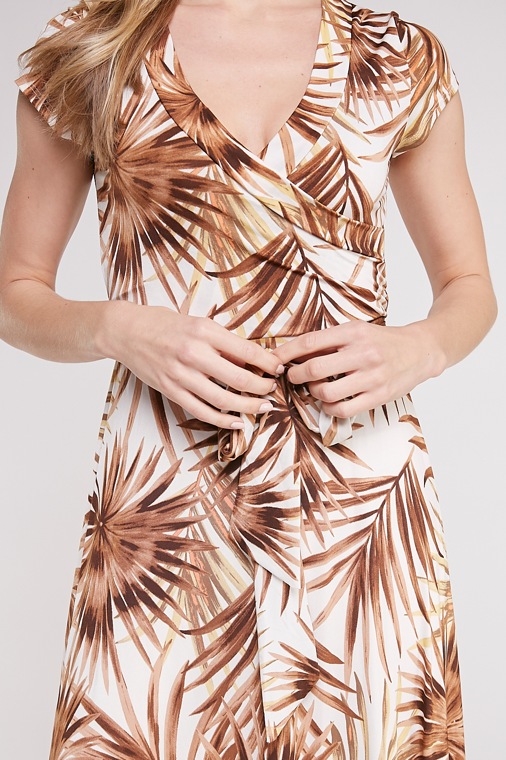 Surplice Leaf-Print Maxi Dress