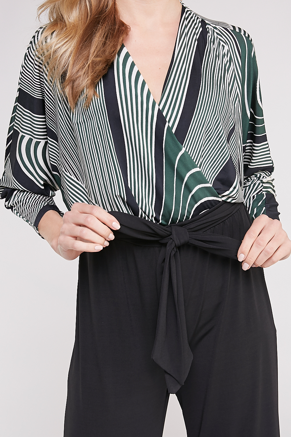 Striped Front-Surplice Jumpsuit