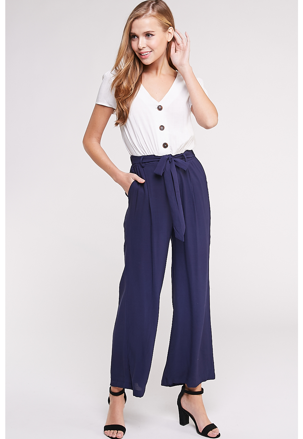 Front Button Detail Jumpsuit