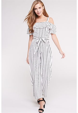 Open The Shoulder Pinstriped Jumpsuit