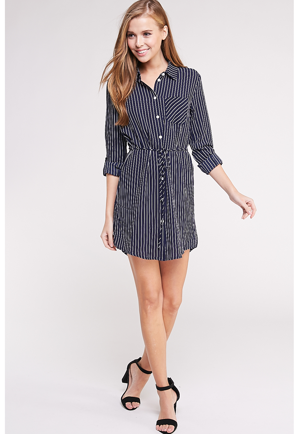 Pinstripe Button Up Tunic