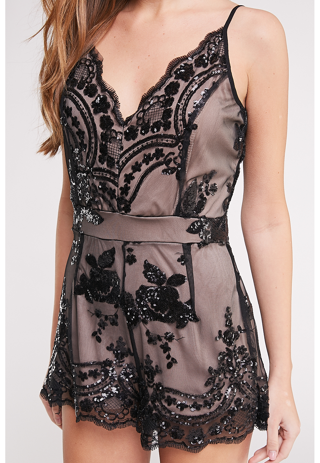 Sequin Embellished Romper