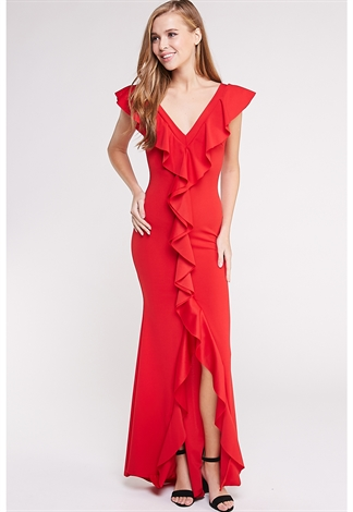 Flounce Trim Maxi Dress
