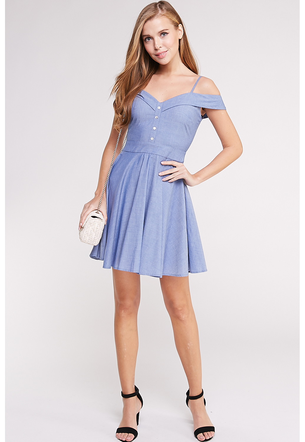 Open Shoulder Fit And Flare Mini Dress