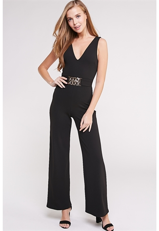 Chain Front Belt Jumpsuit