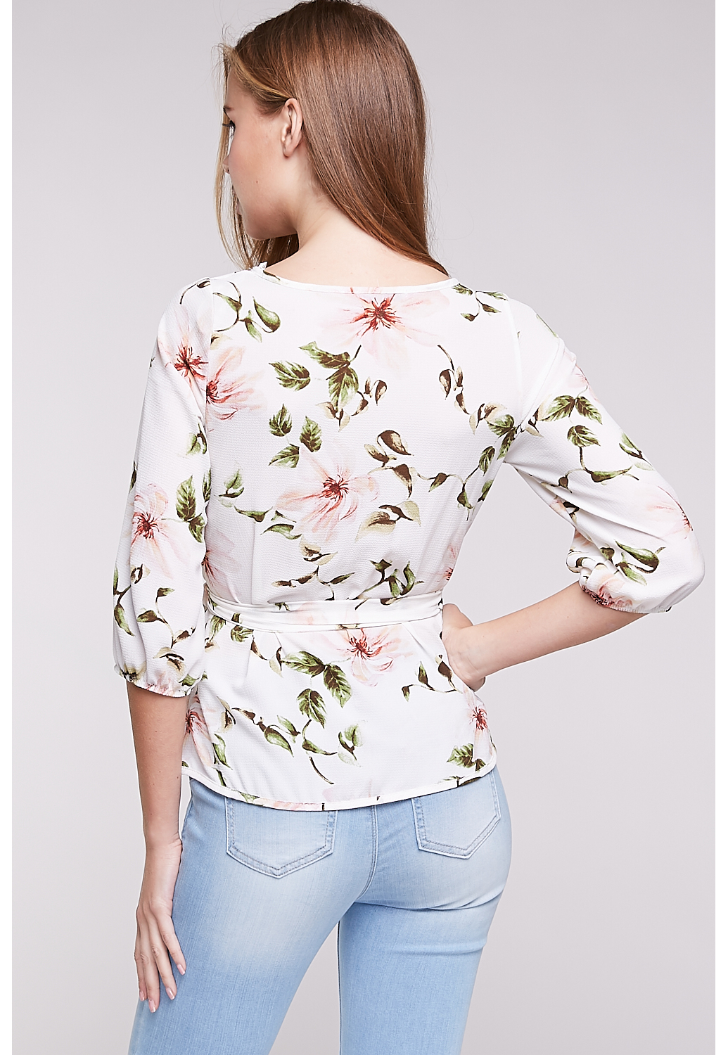 Floral Wrap Surplice Top