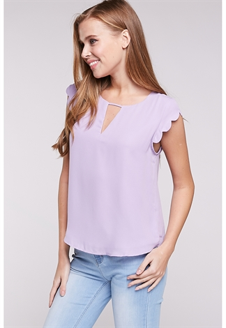 Scalloped Sleeve Dressy Top